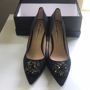 New Karl Lagerfield Paris black heeled shoes
